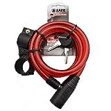 B-Safe Fahrradschloss Spiralschloss Kabelschloss 12 x 1200 mm mit Halterung (Rot)