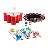 Relaxdays 3 teiliges Trinkspiel Set XXL für Erwachsene, Drinking Ludo, Trink-Roulette, Beer Pong...