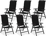 Brubaker 6er Set Gartenstühle Milano - Hochlehner Stühle klappbar - 8-Fach verstellbare...