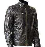LeatherFans Herren Bikerjacke aus echtem Lammleder, inspiriert von David Beckham Gr. XX-Large,...