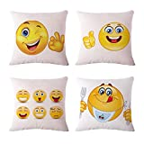 XIANLAN-HANGD Zierkissenbezug 4PCS Cartoon Emoji Leinenmaterial Beinhaltet kein Kissen (Color :...