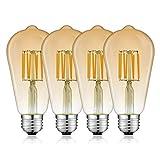 Bonlux LED E27 Edison Filament Lampe Dimmbar 8W ST64 Vintage Glühirne 220V Warmweiß 3000K Amber...