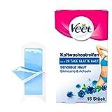 Veet Kaltwachssstreifen Easy-Gelwax Technology für die Bikinizone & Achseln für sensible Haut, 1er...