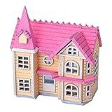 htrdjhrjy DIY Puppenhaus Mini Pink House Ferienhaus Holz Spielzeug Puppen Zubehörset - Stück, one...