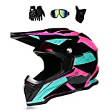 Motocross Helm Damen Pink Schwarz mit Brille/Handschuhe/Maske, Motorrad Crosshelm Adult...