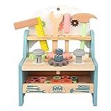 N/J Wooden Workbench Toy, Wooden Toys Compact Nordic Workbench Komplettes Spielset Für Kinder Ab 3...