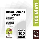 OfficeTree Transparentpapier 100 Blatt DIN A4 - zum Zeichnen, Basteln, Gestalten Edler...