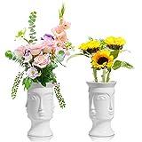 ComSaf Keramik Vase Weiß 2er Set, Modern Gesicht Design Blumenvase Deko Strauß Kernstück für...