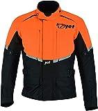 Jet Motorradjacke Herren Mit Protektoren Textil Wasserdicht Winddicht Tourer(Orange, L (50-52))