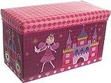 Bieco Aufbewahrungsbox mit Deckel Kinder Prinzessin, faltbar, Sitzhocker mit Sitzgelegenheit, und...