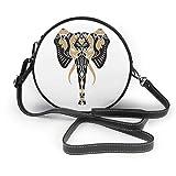 Handgezeichneter Elefant Boho Tribal Stil Runde Crossbody Tasche PU Leder Reißverschluss...