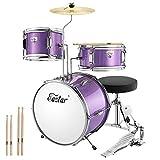 Eastar EDS-180Pu 3-Teile Junior Schlagzeug Kinder Komplett Set 14 Zoll/35.5 cm mit Thron, Becken,...