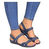 Dasongff Frauen Flache Sandalen Sommer Offene Schuhe mit Klettverschluss Spitze Feste Faux Leder...