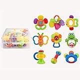 QIANGU Baby Rasseln, Säuglingsrassel Zahnen Babyspielzeug mit Flaschenaufbewahrungsshake und GRAP...