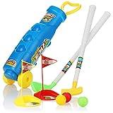 com-four® 10-teiliges Golfset für Kinder, Spielzeugset mit Golfschlägern, Golfbällen, Löchern...