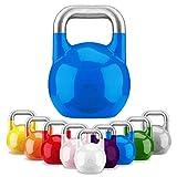 GORILLA SPORTS® Kettlebell Competition 12 kg Stahl Blau – Wettkampf Kugelhantel