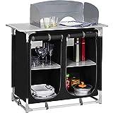 Berger Küchenbox Camping Sideboard, Alugestell, schwarz/grau, inkl. Windschutz und Tragetasche,...