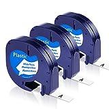 Toplabel Kompatibel Etikettenband als Ersatz für Dymo Letratag Plastic White 12mm x 4m, 91221...