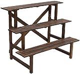YWYW Pflanzgefäß Halter 3 Ebenen Holz Treppenform Multifunktionale Outdoor Blumentopf Halter für...