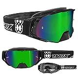 TWO-X Rocket Crossbrille schwarz Glas verspiegelt grün MX Brille Nasenschutz Motocross Enduro...