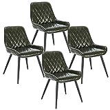 ELIGHTRY 4 Stücke Esszimmerstühle,Retro Küchenstuhl Wohnzimmerstuhl Sitzfläche aus PU Retrostuhl...