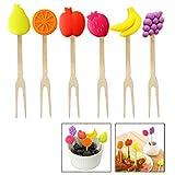 Xrten 6 Stück Kinder Obstgabel aus Edelstahl,Bunte Frucht Gabel Frucht Picks Set
