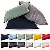 Blumtal 2er Set Kissenbezug 40 x 80 cm - 100% Baumwolle, Superweicher Premium Jersey...