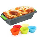 Fostoy Brotbackform aus Silikon 20cm, Backform mit 10 Muffin Cupcakes Förmchen, Kastenbackform...