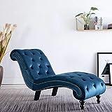 CASTLOVE Chaiselongue Blau Samt