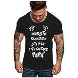 Anglewolf Herren T-Shirt Kurzarmshirt Top Print Shirt Casual Basic O-Neck DAD to BE Loading PLAESE...