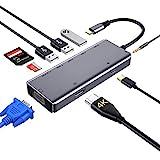 zedela USB C Hub, 9 in 1 DUAL-Anzeige USB C Adapter mit HDMI,VGA, SD/Micro SD-Kartenleser, Typ C...