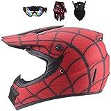 WEITY Full Face MTB Helm, Rot/Spinnennetz Kinder und Erwachsene Motocross Helmset Schutzbrillen...