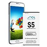 HONITURE Akku für Samsung Galaxy S5, 2950mAh hohe Kapazität Lithium-Ion Poylmer Batterie,...