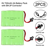 Crazepony-UK 2PCS Battery 6V 700mAh NI-Mh Akku SM 2P Plug Connector with USB Charging Cable for...