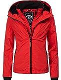 Marikoo Damen Übergangsjacke Outdoorjacke mit Kapuze Erdbeere Rot Gr. M