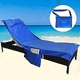 YOULERBU Strandstuhl-Abdeckung mit Kissen, weiches Netzstoff, verdicktes Pool-Handtuch, Strandtuch...