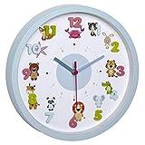 TFA Dostmann LITTLE ANIMALS Kinder-Wanduhr mit Tier-Motiven, leises Uhrwerk, ideal für das...