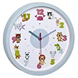 TFA Dostmann LITTLE ANIMALS Kinder-Wanduhr mit Tier-Motiven, leises Uhrwerk, ideal fr das...