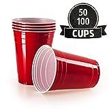 Vivaloo 50 Plastikbecher Trinkbecher - Bierpongset Red Cups, Rote Beer Pong Becher, Partybecher...