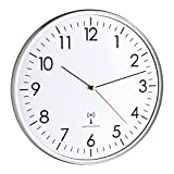 TFA Dostmann Analoge Wanduhr Funk, hohe Genauigkeit, Funkuhr, weiß/silber, 60.3514
