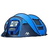 AYAMAYA Camping Zelt 3-4 Personen Pop up Zelte, Outdoor Wurfzelt [2 Türen] Automatische Große...
