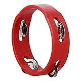 Cheniess 6-Zoll-Hand Holz Tambourine Handglocke Percussion Spieluhr einreihig Metall Jingles Rot for...