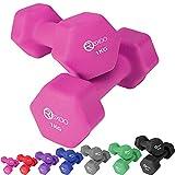 REXOO Neopren Kurzhanteln Hanteln, Gewichte 2er Set Hantelset Fitness Aerobic 2X 1,0 kg pink