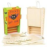 Baker Ross Bastelsets Fledermauskasten aus Holz für Kinder als Bastel- und Deko-Idee zum Gestalten...