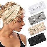 Haarband Damen, Boho Stirnbänder Elastisches Sommer Bandana Breites Haarbänder Sport Yoga Pure...