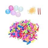 LIOOBO 500 Stücke Wasserballons Wasserbomben Luftballons Biologisch Abbaubar mit 500 Binderinge und...