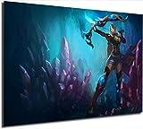 League Legends Büro-Wanddekoration, Kunstwerk, Asche, Amethyst, Gaming-Gemälde, Leinwanddruck,...