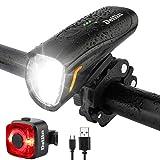 Deilin Upgraded LED Fahrradlicht Set, bis zu 70 Lux Fahrradlampe, Zugelassen USB Aufladbar...