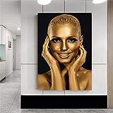 ganlanshu Rahmenlose MalereiModerne goldene afrikanische Frau im Wohnzimmer mit Ölgemäldenplakaten...