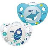 NUK Trendline Schnuller | 6-18Monate | BPA-freier Schnuller aus Silikon | Rakete und Hai |...